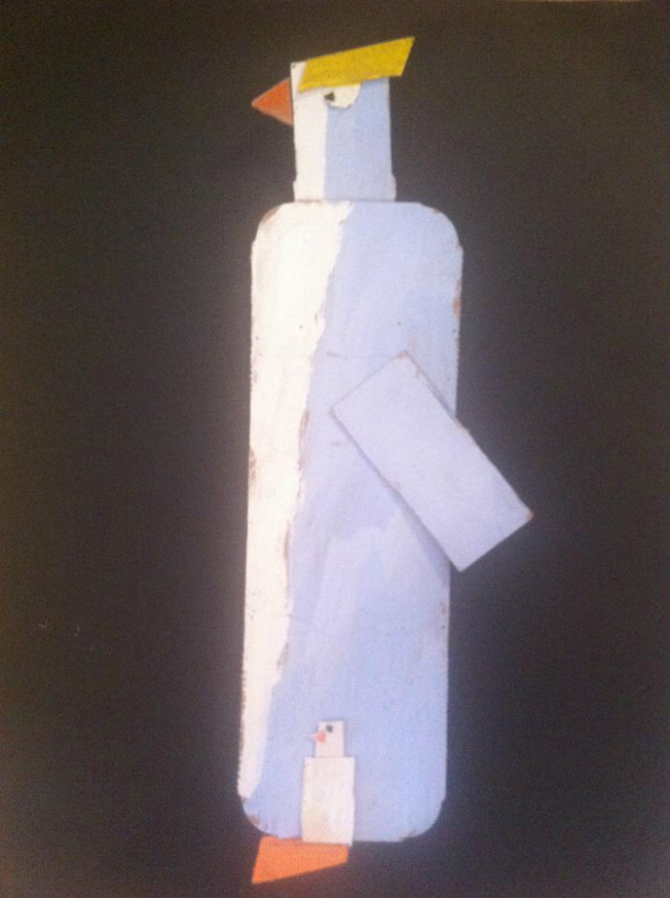 """Michael Barrientos """"Painted Cardboard Assemblage of a Penguin"""""""